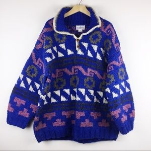 Vintage oversized pure wool sweater Aztec bright
